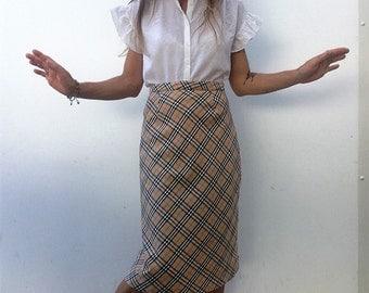 Burberrys | Vintage | 1980s | Skirt | Plaid | Cotton | Mid-length | Classic