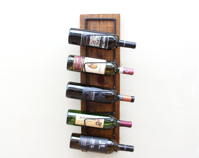 Rustic Wall Wine Rack | 5-Bottle Wood Wine Display