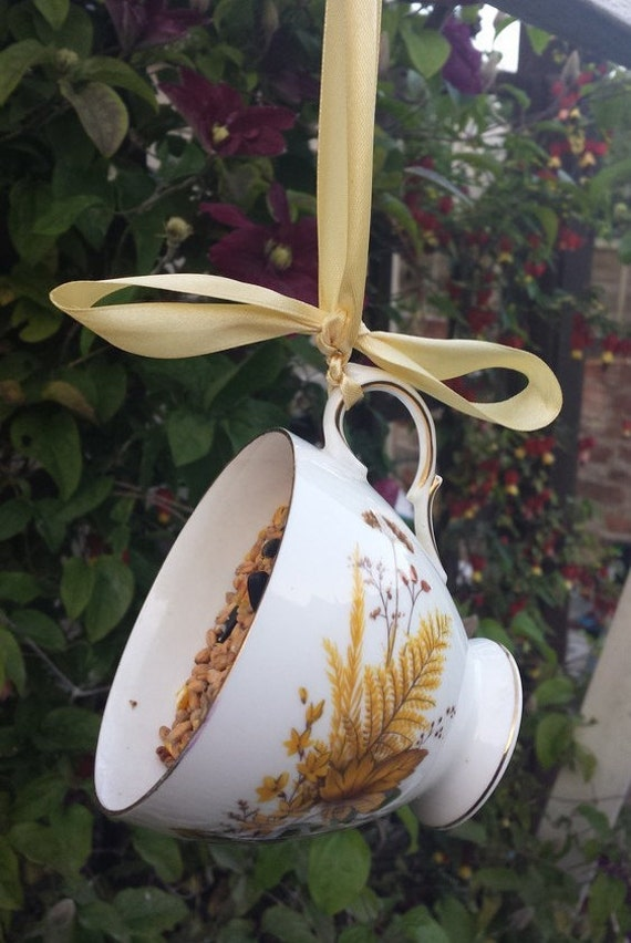 Teacup Bird Feeder Bird Lovers Gift. Garden Ornament