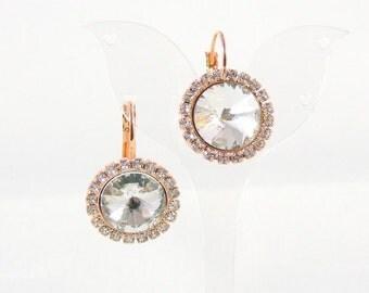 Rose gold earrings gold plated Halo earrings Entourage Crystal bridal earrings wedding jewellery bridesmaid earrings cubic zirconia rhinestone
