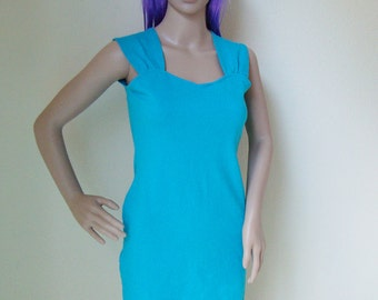 SALE // blue dress -cyber, club kid, cocktail, prom, mini, short, stretchy, neckline, sleeveless, party, 90s, 80s, clueless, sexy, cute-
