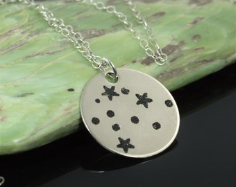 Sterling Silver Aquarius Necklace, Aquarius  Necklace, Sterling Silver, Aquarius Constellation, Star Jewelry, Zodiac Pendant, Silver Pendant