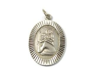 Saint pendants etsy vintage silver st christopher pendant oval saint christopher sterling silver hexagonal pendant aloadofball Choice Image