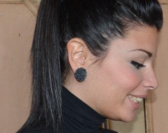1950s/60s Vintage clip earrings ~ plastic ematite beaded clip on earrings