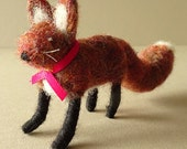 Handmade fox - felted fox animal ornament - gift for her - woodland fox gift - free shipping - needle felted handmade fox - fox in a box