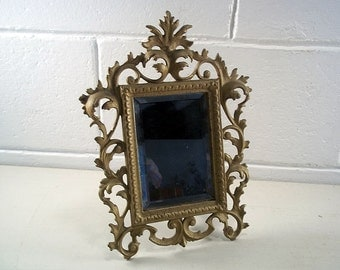 Iron easel etsy for Fancy vanity mirror