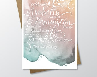Watercolor Invitation Set . Rose Quartz Copper Gold Teal Blush Pink Mint Pantone Beach White Calligraphy Leaf Garland . Printed 3-card Set