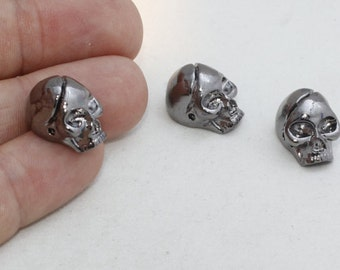 3 Pcs Gunmetal Skull Beads, Bracelet Slide Charms , Skull Beads, Gunmetal Charms , 12x17mm , KDR36