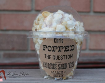 """Popped The Question Label - Customizable Adhesive Back for Wedding, Bridal Shower, or Engagement Party - 2.5"""" Diameter"""