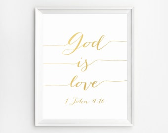 Bible typography, Bible Verse poster, Christian sign John 4 : 16, Scripture Print, Bible Verse Print, Scripture wall decor, Christian quotes