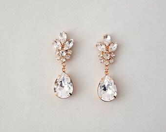 Wedding Earrings - Teardrop Bridal Earrings, ROSE GOLD Earrings, Crystal Earrings, Dangle Earrings, Wedding Jewelry, Bridal - RENEE