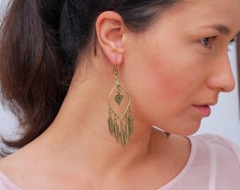 Long drop tribal earrings, gypsy feather earrings, ethnic bronze earrings, gift idea, stylish jewellery