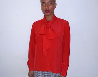 Red Secretary Tie Blouse
