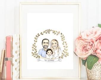 Custom Family Portrait Illustration with Gold Leaf Decorative Crest