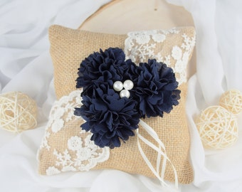 Navy Ring Bearer Pillow - Burlap Ring Pillow - Navy Lace Ring Pillow - Navy Wedding Pillow
