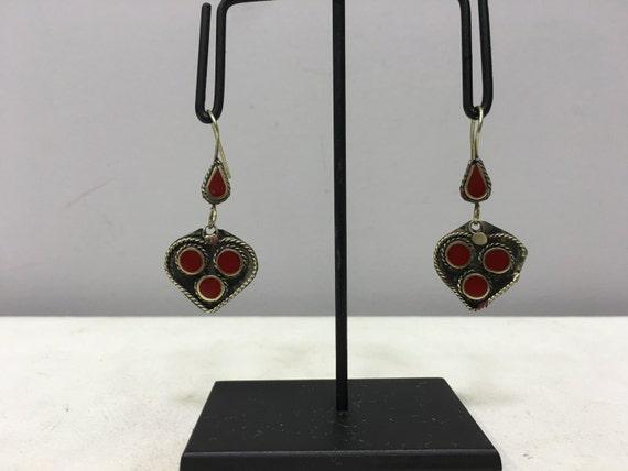 Earrings Silver Middle Eastern Red Glass Heart Shaped Dangle Silver Earrings Handmade Silver Earrings Red Heart Dangle Unique E184