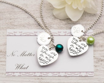 set of 2 my heart necklace as bff necklace set as birthstone pearl gift set with no matter what card - best friend going away gift set