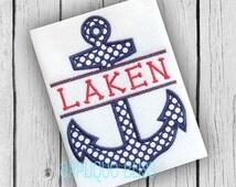 Split Anchor Digital Applique Design - Nautical - Sailing - Boating - Monogram - Machine Embroidery