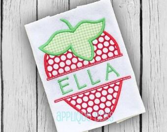 Split Strawberry Digital Applique Design - Strawberry - Summer - Monogram - Strawberry Applique Design - Strawberry Embroidery Design