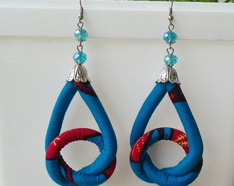 African Earrings, Ankara Earrings, Ethnic Jewellery, Tribal Earrings, Fabric Earrings, Knot Earrings, Knot Jewellery,  Easter Gift, Spring
