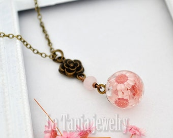Pink Real Flower Resin Necklace Dried Flower Pendant - Resin Ball Botanical Orb Eco Friendly Jewelry Statement Pendant Transparent Necklace