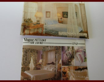 Bed Canopy Sewing Pattern, includes canopy, drapes, bedspread, dust ruffle, pillow shams, UNCUT Vogue 1712