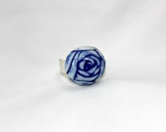 Blue ring, flower ring, silver 925 ring, sterling silver ring, ceramic ring, porcelain ring, romantic ring, gift for her, dark blue ring