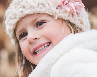 Bella Lace -Kids Knitted Headband,Knit Headband, Kids Ear Warmer, Toddler Headband, Hair Accessory, Baby Girl Turban, Little Girl Band
