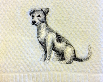 Jack Russel embroidered hand towel