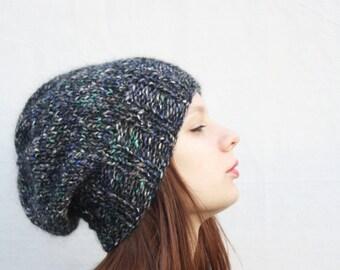 Knitted slouchy hat Women's winter hat Black slouchy beanie Slouch hat Knit hat Slouchy Beanie Wool hat Oversize hat Knit slouchy hat Warm