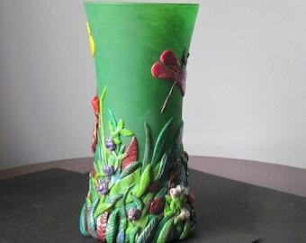 Dragonfly vase,Polymer Clay vase,painted vase,Green vase,OOAK Polymer Clay,Painted Glass vase