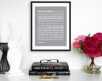 """Motivational Print, Inspirational Quote, Bob Marley Quote, """"He's Not Perfect"""" Typography Poster, Wall Print, Digital Download, Printable Art"""