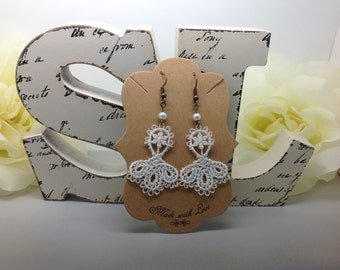 Victorian White Venice Lace Earrings