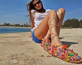 Tie Up Gladiator Boho Sandals. Pom Pom Sandals. Full Grain Leather. Totally Handcrafted in Greece. FREE SHIPPING!