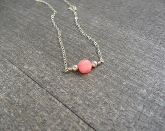 30% off discount 14k gold filled pink coral coin necklace / bridesmaid / minimalist necklace / dainty necklace / October birthstone necklace