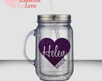 2 Glitter Heart Bridesmaid Tumblers - 18 oz Mason Jar, Bridesmaid Cups, Custom Tumbler, Personalized Tumbler, Bridesmaid Gift, Bride Cup