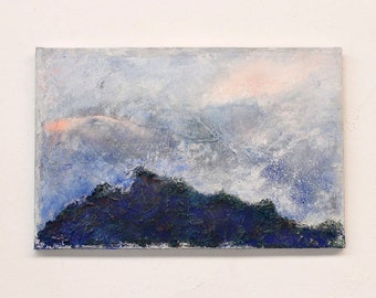blue landscape, blue painting, original painting, textured painting, wall art, abstract painting, small painting,