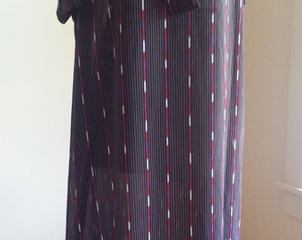 70s Black Gold Brown Red Purple White Stripes Tie Collar Short Sleeves Sheer Lightweight Straight Pullover Polyester Dress