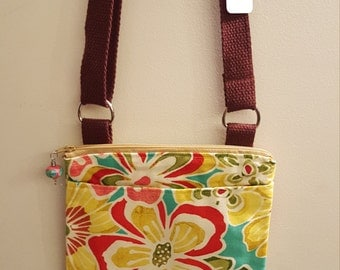 Small Floral Cotton Purse/Crossbody/Handbag/Shoulder Bag with zipper top, pockets and adjustable strap
