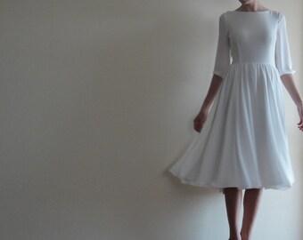 flowy wedding dress. crepe chiffon dress,underlined with 100%cotton,white midi dress,wedding dress flowy wedding