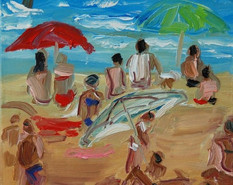 Original painting bathers in a blue sea in France, sandy beach, Women under a red umbrella