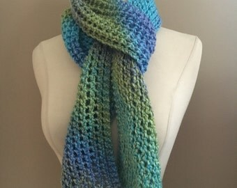 Knit Pastel Lacy Winter Scarf Handmade Accessories,Ready To Ship