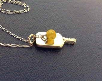 Sterling Silver Pickleball Paddle with Yellow Pickleball
