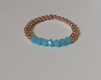 Rose gold bead bracelet with sky blue glass beads, Valentines day gift