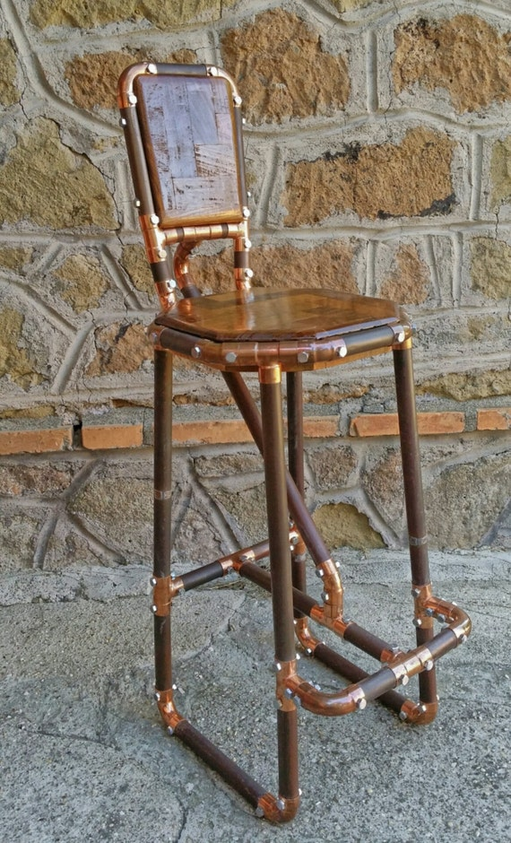 Reclaimed Copper Pipe Stool And Reclaimed Wood Industrial