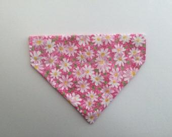 Pink Daisy REVERSIBLE Dog Bandana