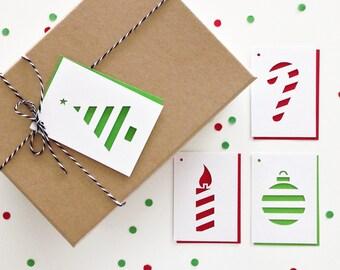 Christmas Gift Tags - Set of 4, Christmas Wishes, Christmas Greetings, Christmas Tree, Christmas Bauble, Christmas Cane, Christmas Candle