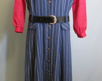 1970s Blue Striped Denim Blue Jumper with Full Skirt and Flap Pockets by S.L. Fashions Made in the USA Modern Size Large or  12