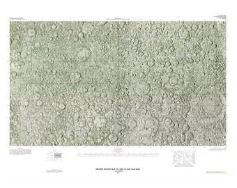 Map of the Moon Relief Map Digital Download Print - NASA Lunar Astronomy Printable moon art