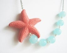 Statement Necklace,Bib Necklace,Coral Starfish Necklace,Coral Necklace,Starfish Necklace,Bridesmaid Jewelry,Aqua Necklace,Coral Jewelry,Gift